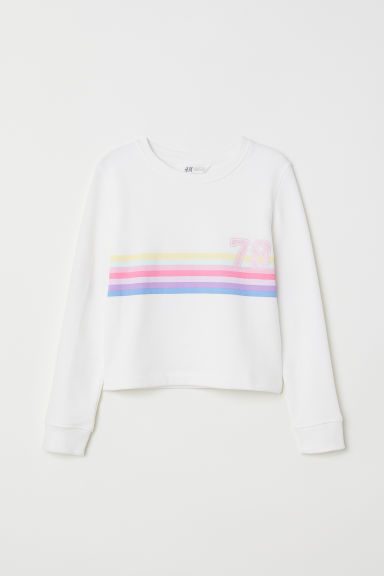Printed sweatshirt - Natural white/78 - Kids | H&M CN