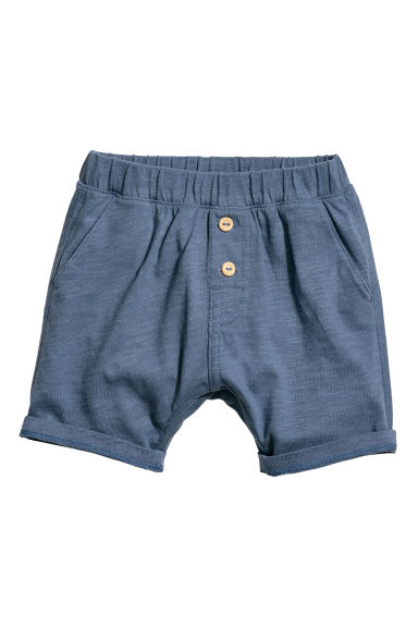 Slub cotton jersey shorts - Dark blue - Kids | H&M CN