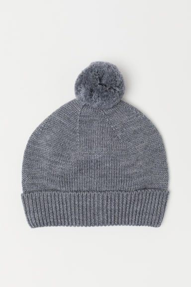 Knitted wool hat - Grey marl - Kids | H&M CN