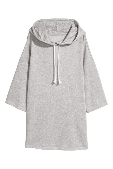 Hooded sweatshirt dress - Light grey marl - Ladies | H&M