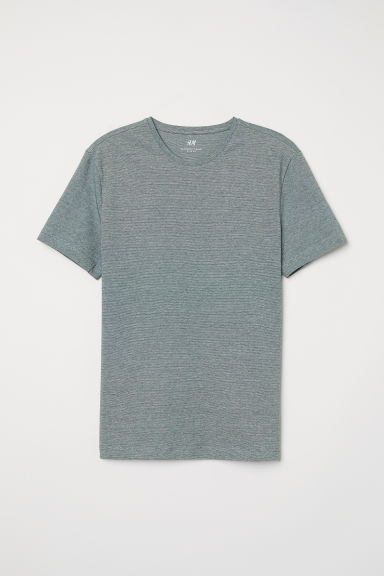 Round-neck T-shirt Slim fit - Green marl - Men | H&M