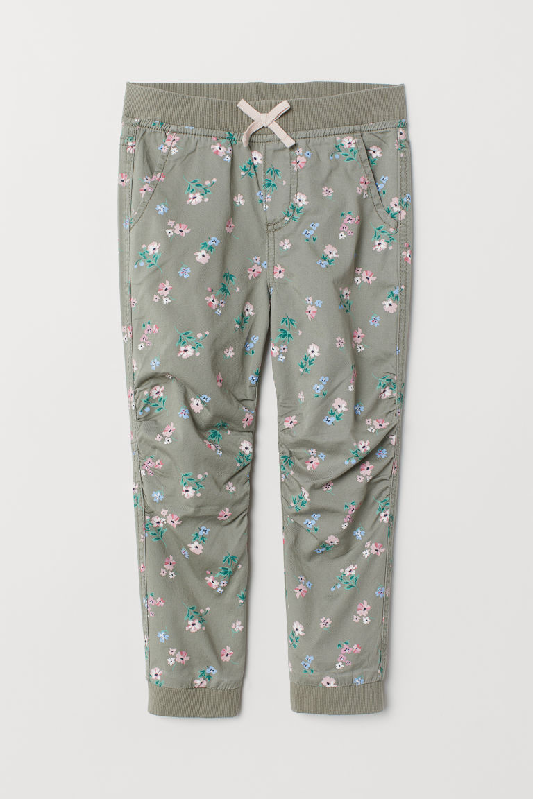 Pull-on trousers - Khaki green/Floral - Kids | H&M CN