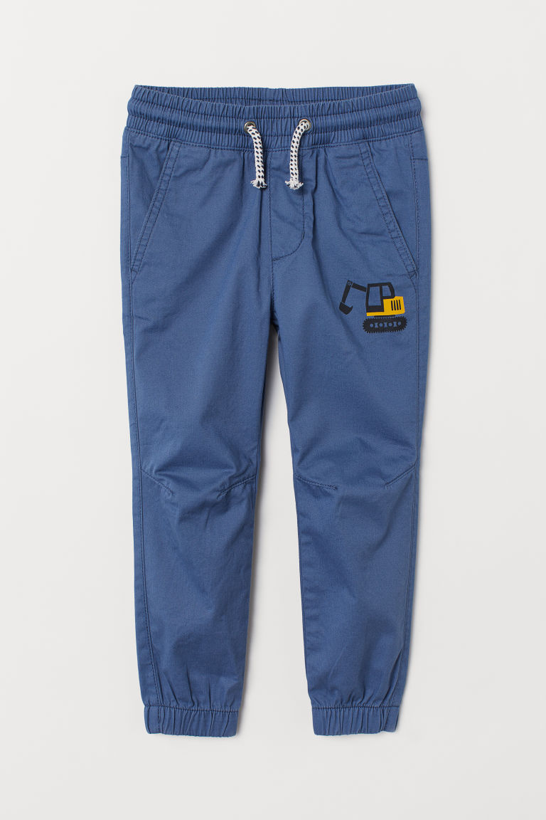 Cotton pull-on trousers - Dark blue - Kids | H&M GB