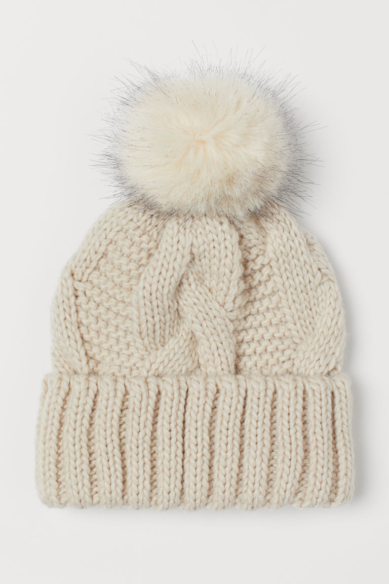 Knitted wool-blend hat - Light beige - Ladies | H&M