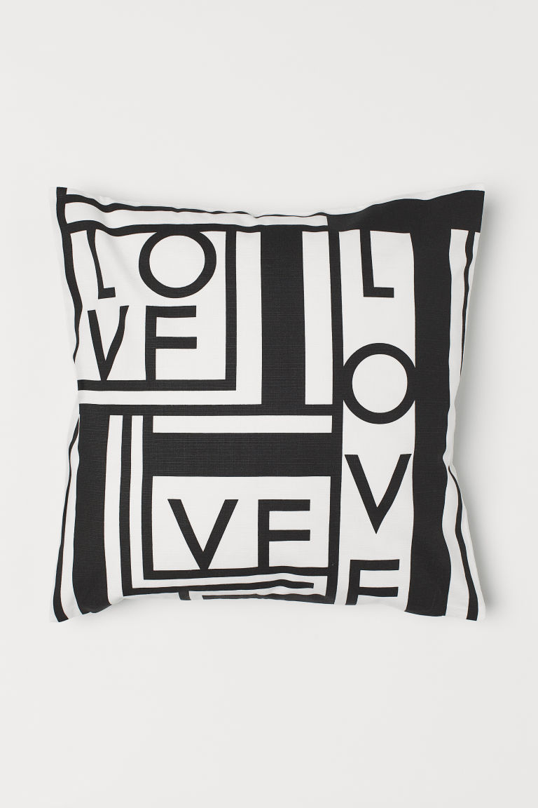 Patterned cushion cover - Black/Love - Home All | H&M GB
