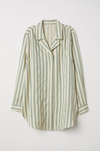 Oversized shirt - Light yellow/Green striped -  | H&M