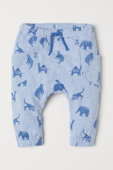 Pull-on trousers - Light blue marl/Patterned - Kids | H&M CN