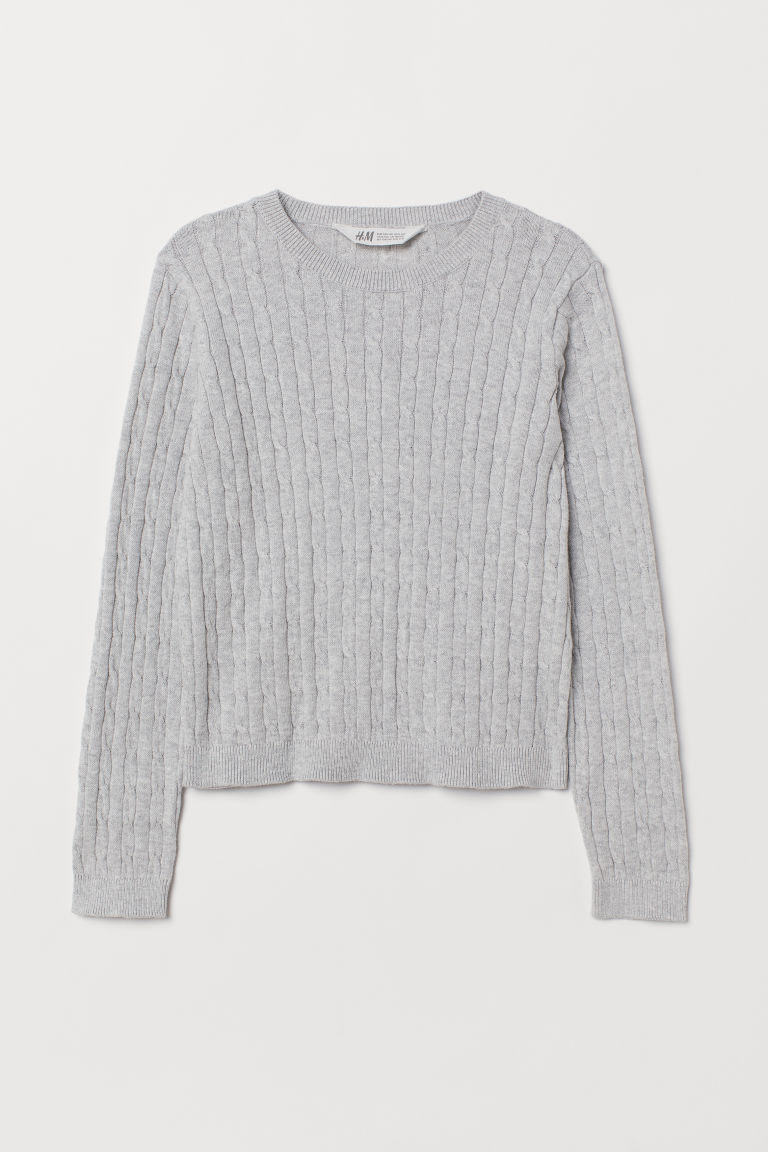 Cable-knit jumper - Light grey marl - Kids | H&M CN