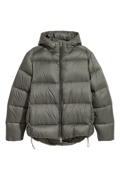 Hooded down jacket - Khaki green -  | H&M CN