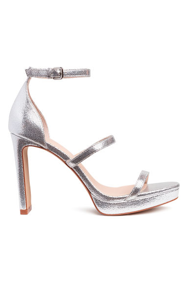 Shimmering metallic sandals - Silver-coloured - Ladies | H&M CN