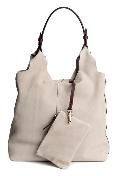Suede hobo bag - Light beige -  | H&M GB