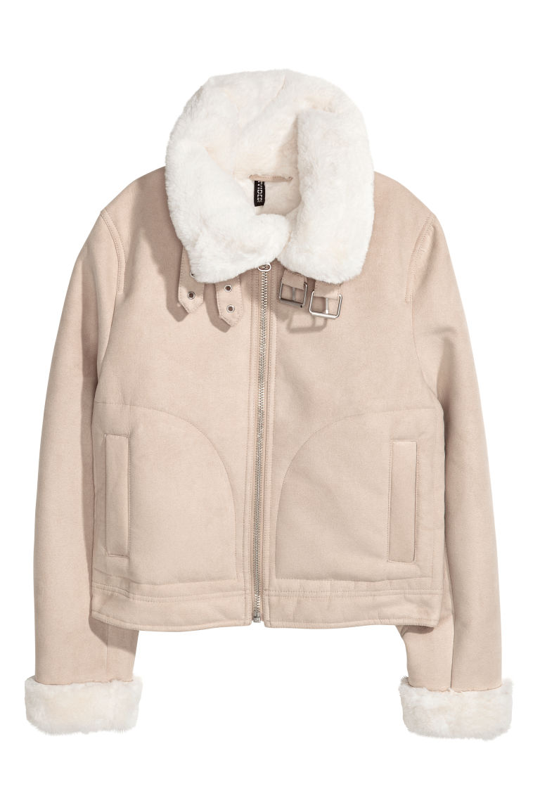 Jacket with a faux fur lining - Beige - Ladies | H&M
