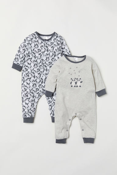2-pack jersey pyjamas - Light grey marl/Pandas - Kids | H&M