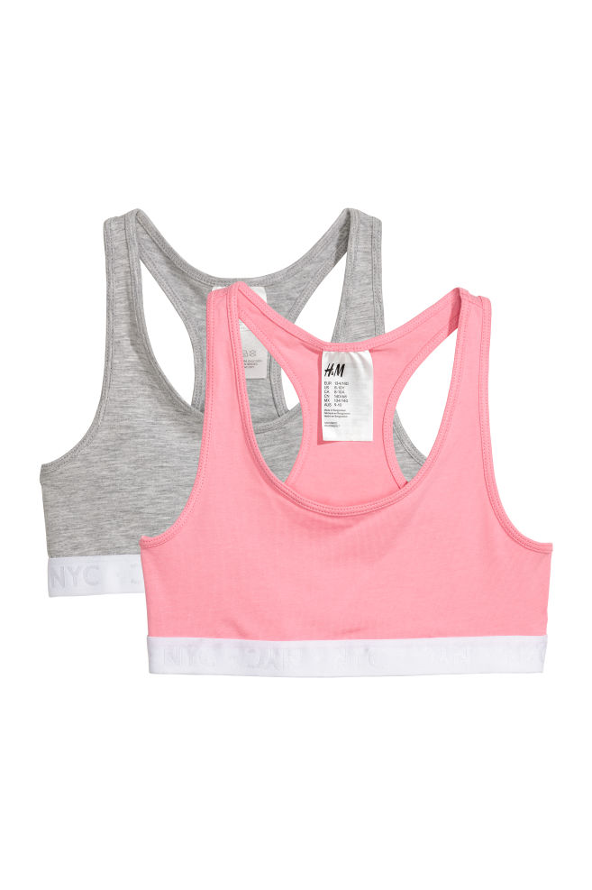 8aad7a0aed4c2 2-pack crop tops - Pink Light grey - Kids