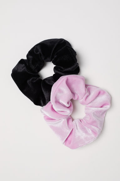 2-pack Velour Scrunchies - Light pink/black -  | H&M US