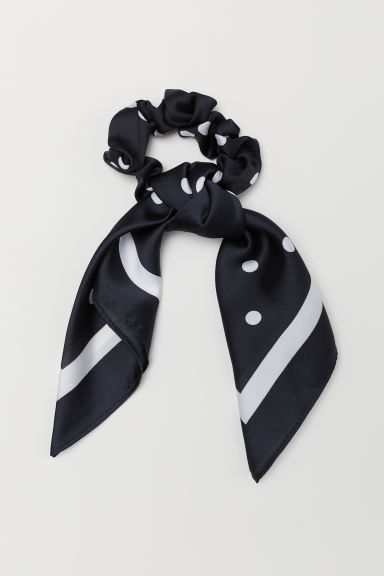Scrunchie with a scarf detail - Black/Spotted - Ladies | H&M CN