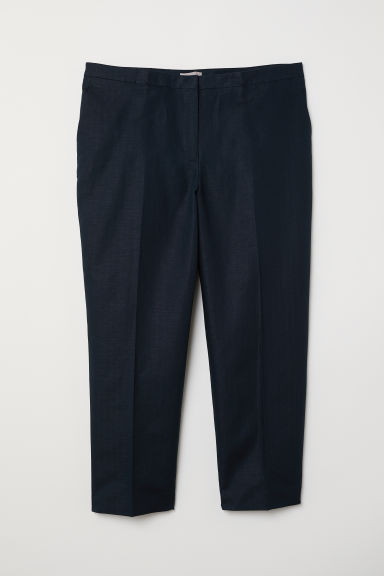 H&M+ Linen-blend suit trousers - Dark blue - Ladies | H&M