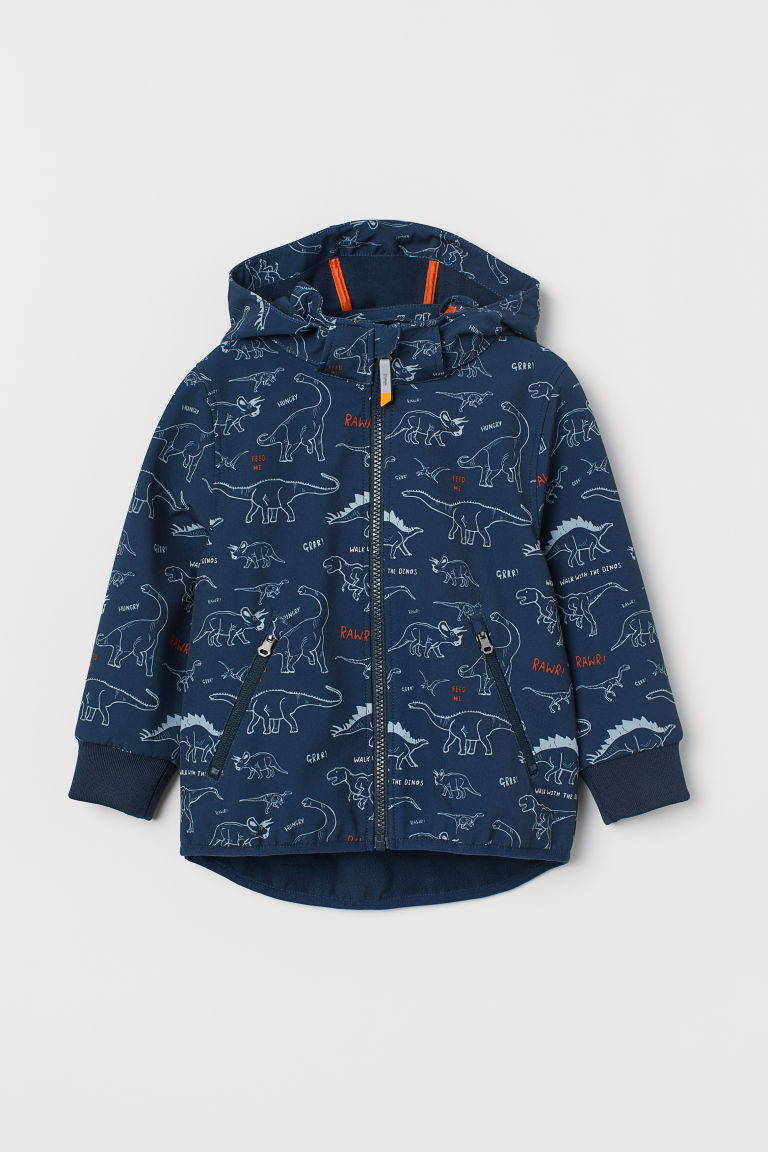 Water-repellent shell jacket - Dark blue/Dinosaurs -  | H&M