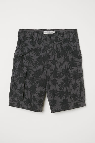 Cotton twill cargo shorts - Dark grey/Black patterned - Men | H&M