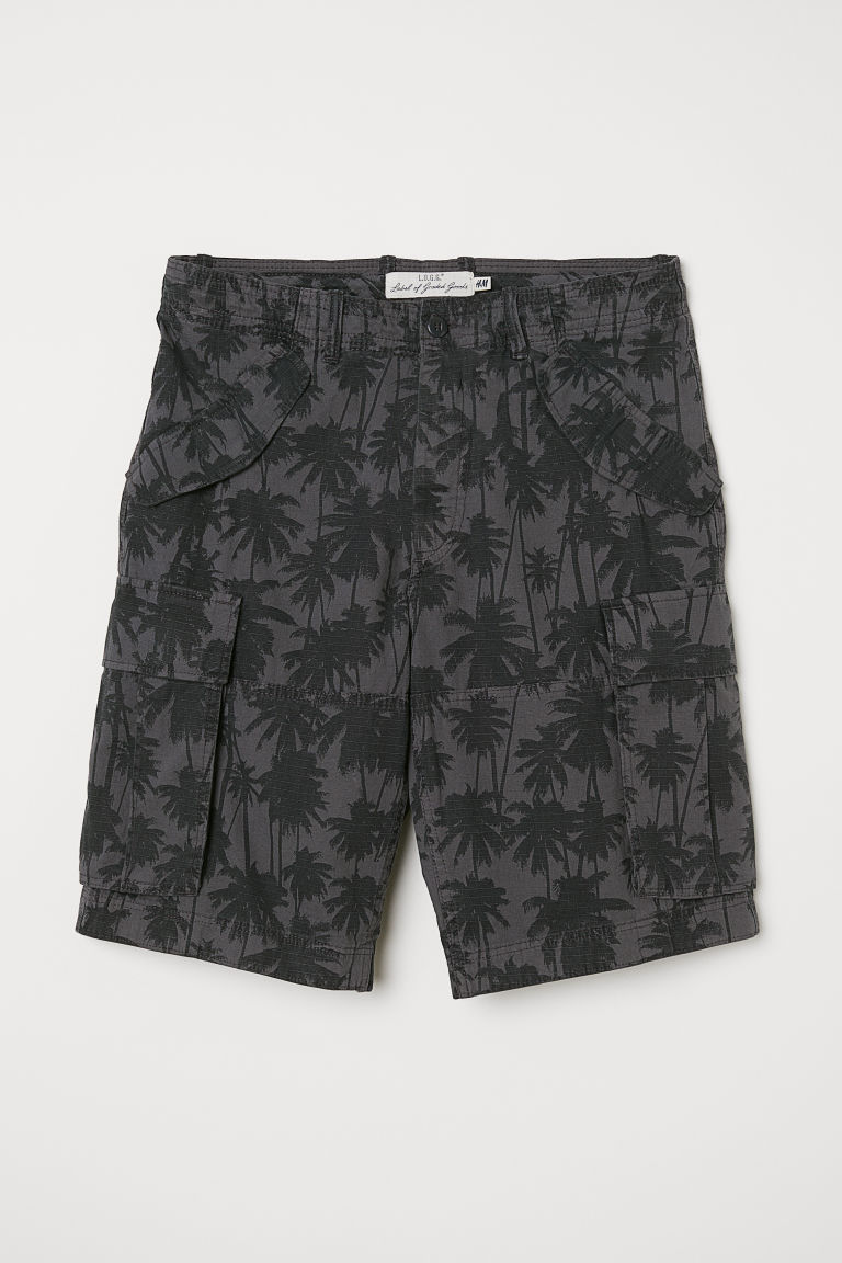 Cotton twill cargo shorts - Dark grey/Black patterned - Men | H&M GB