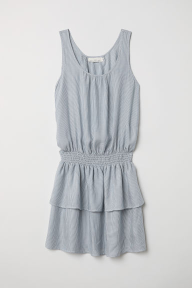 Sleeveless dress - Blue/White striped - Ladies | H&M CN