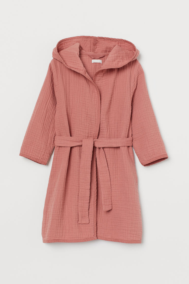 Crinkled dressing gown - Old rose - Home All | H&M GB