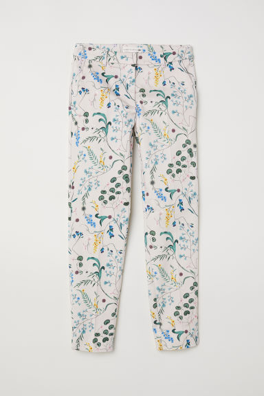 Patterned cigarette trousers - Light beige/Floral - Ladies | H&M