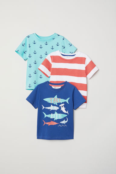 T-shirts, lot de 3 - Bleu/requins -  | H&M FR