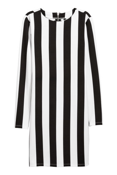 Jersey dress - Black/White striped -  | H&M GB