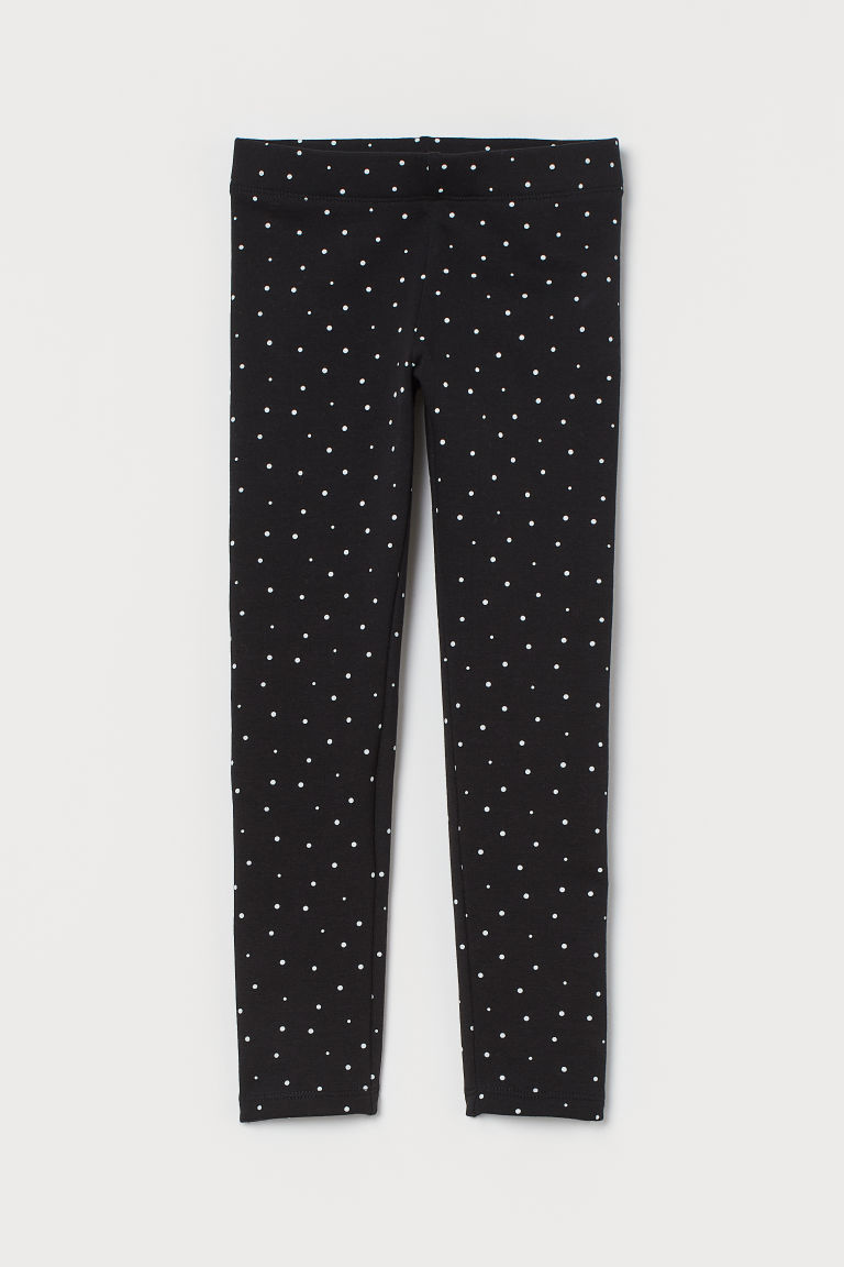 Leggings with brushed inside - Black/Spotted - Kids | H&M CN