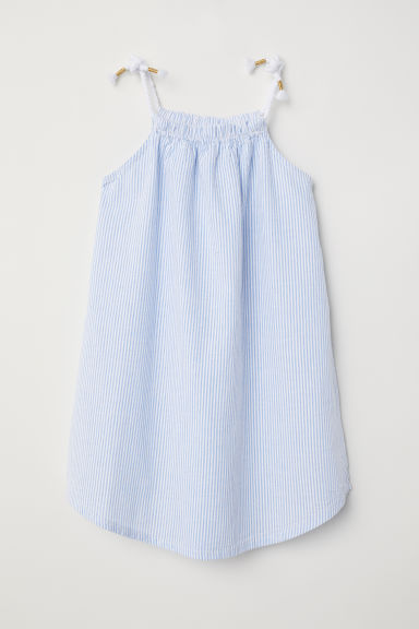 Seersucker dress - Light blue/White striped - Kids | H&M