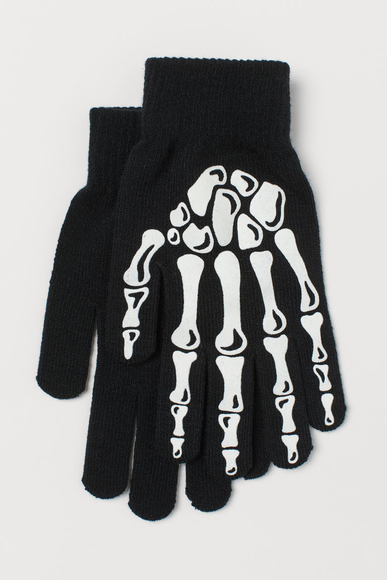 Guantes glow-in-the-dark - Negro/Glow-in-the-dark - HOMBRE | H&M ES