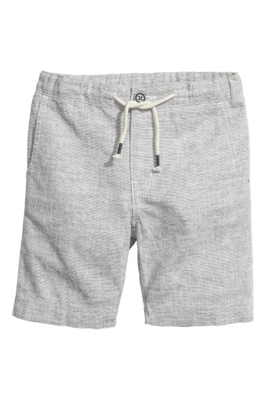 Linen-blend shorts - Light grey - Kids | H&M CN