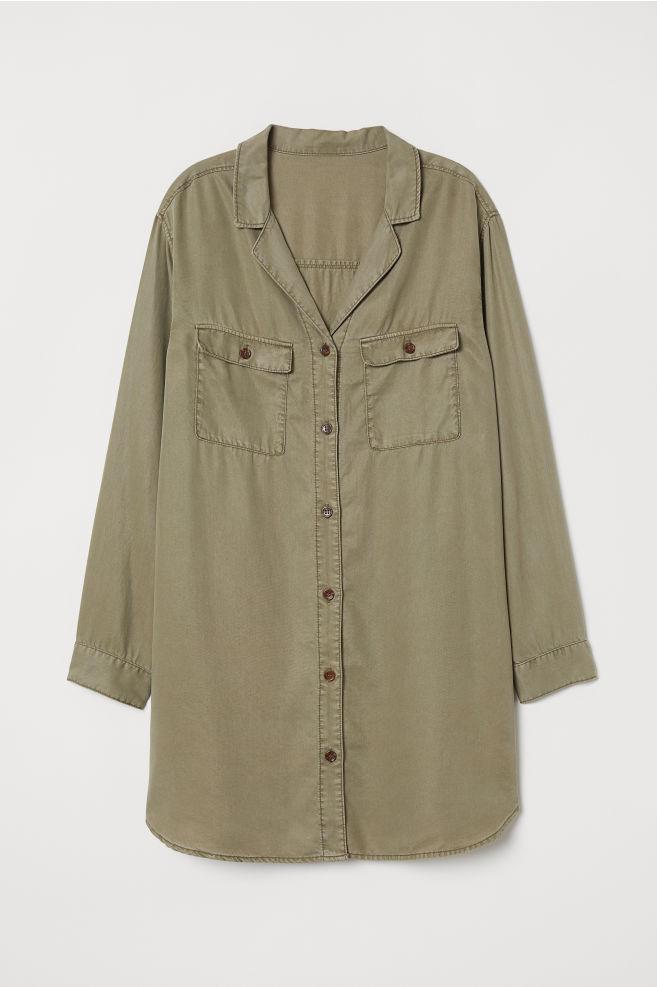 1d8c0bc8f2 ... Camisa vaquera larga lyocell - Verde caqui -