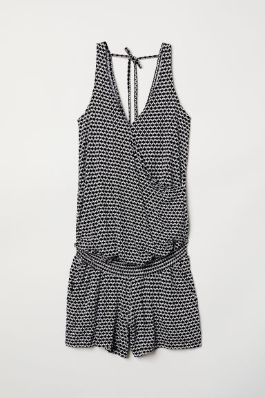 MAMA Wrapover playsuit - Black/White patterned - Ladies | H&M
