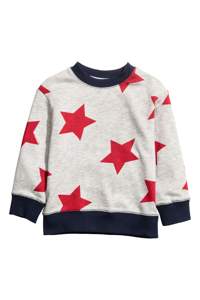 Sweatshirt - Grey/Stars - Kids | H&M CN