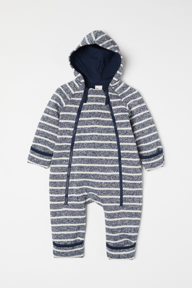 Knitted fleece all-in-one suit - Dark blue/White - Kids | H&M CN