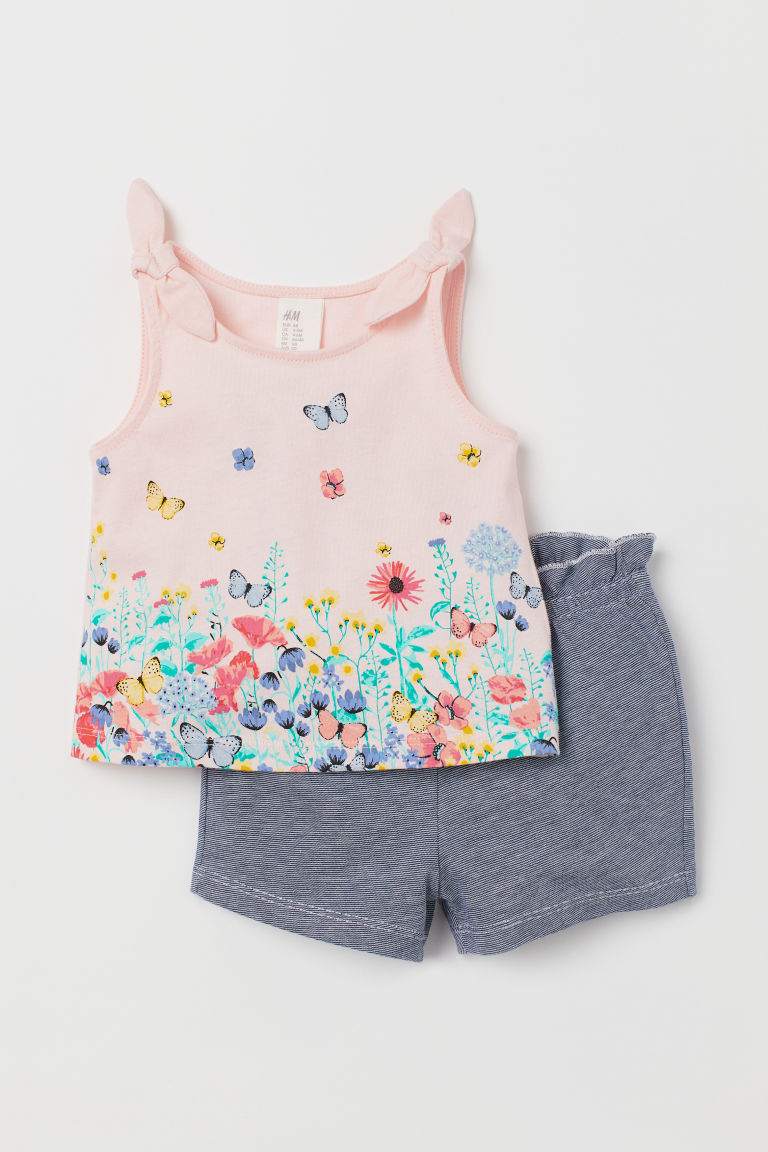 Jersey vest top and shorts - Dark blue/Narrow striped - Kids | H&M