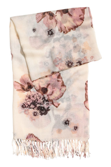 Woven scarf - Light beige/Floral - Ladies | H&M