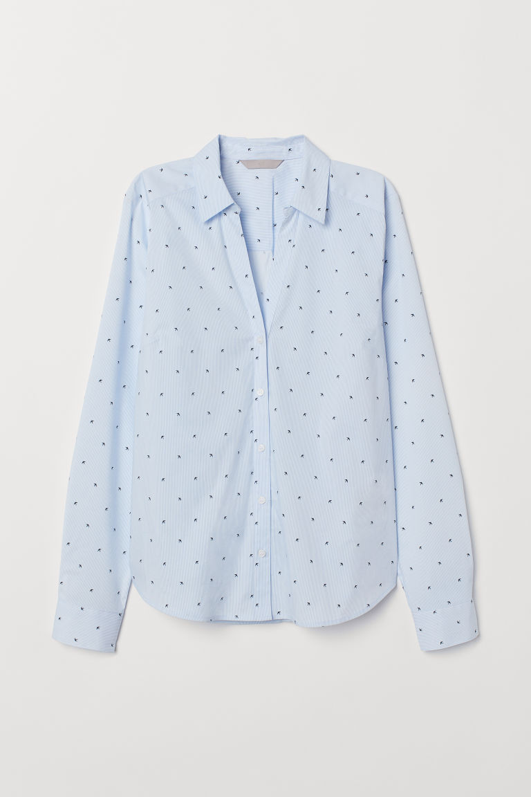V-neck shirt - Light blue/Birds - Ladies | H&M