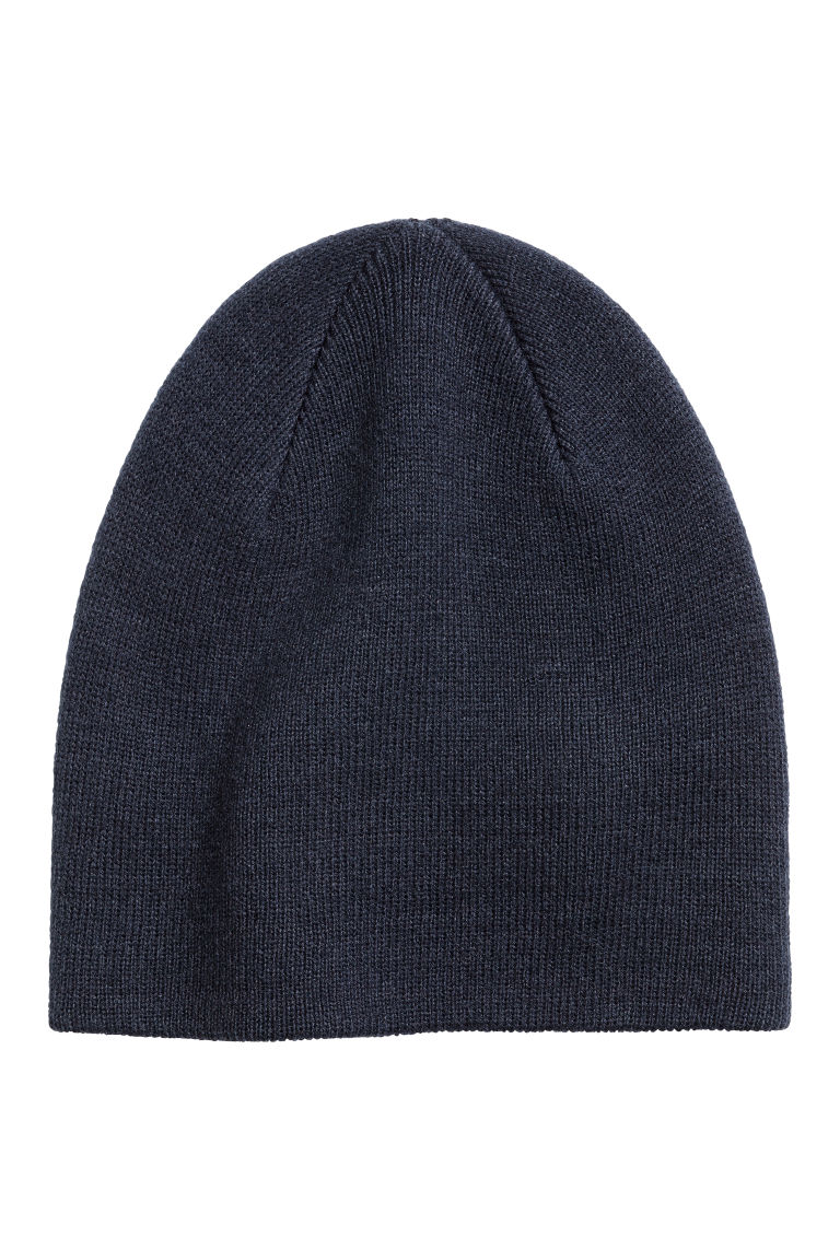 Knitted hat - Dark blue - Men | H&M