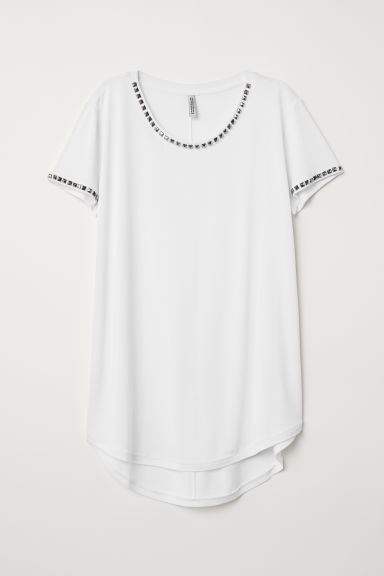 T-shirt with studs - White/Studs - Ladies | H&M CN