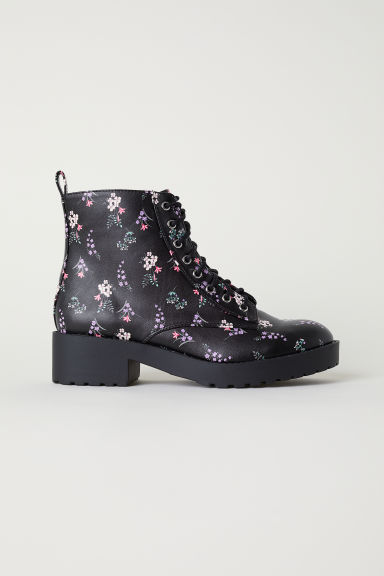 Patterned chukka boots - Black/Floral - Ladies | H&M
