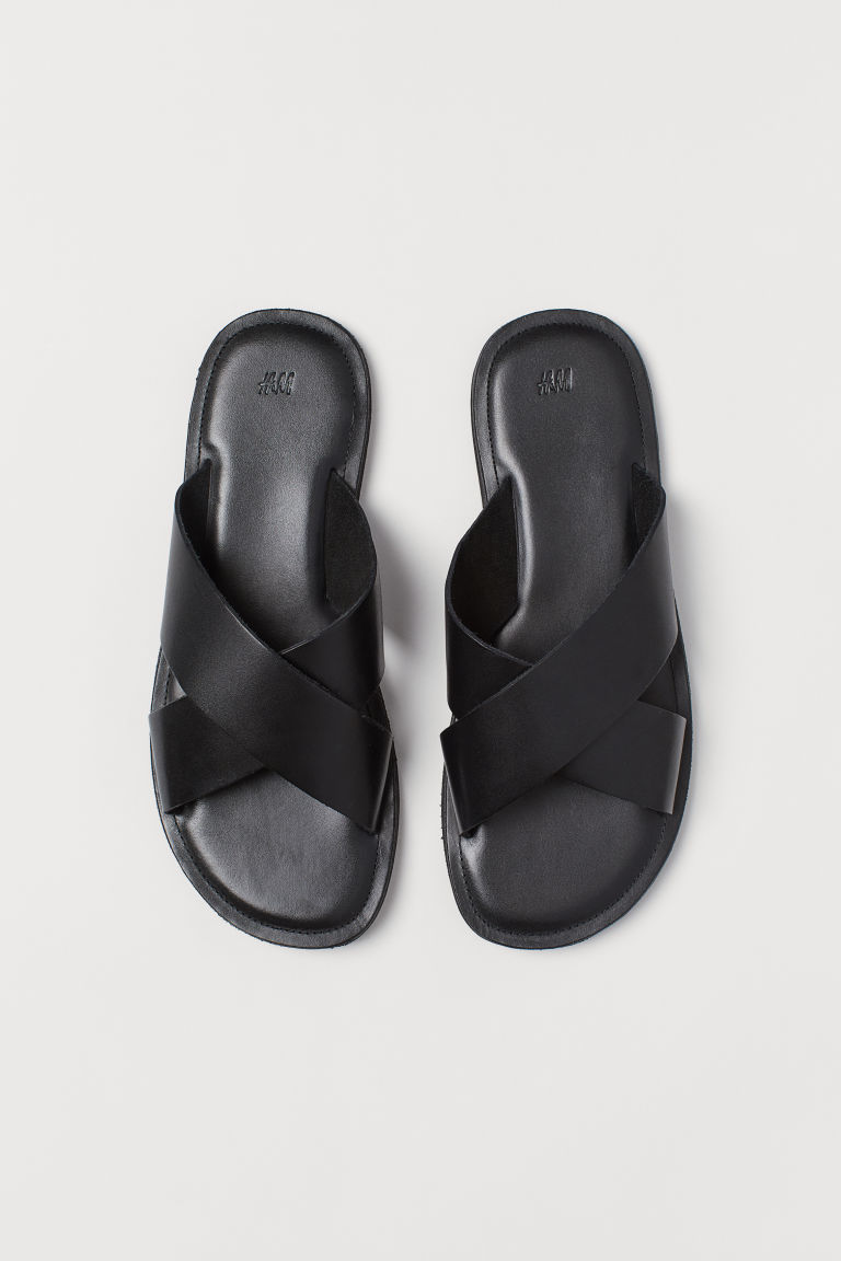 Leather sandals - Black - Men | H&M