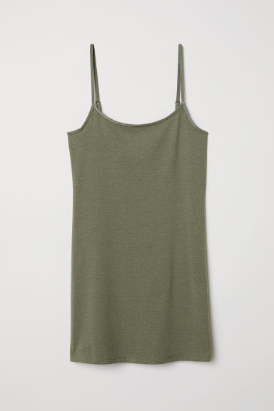 Long jersey strappy top - Khaki green -  | H&M GB