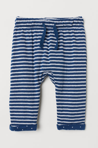 Bonded jersey trousers - Dark blue/White striped - Kids | H&M