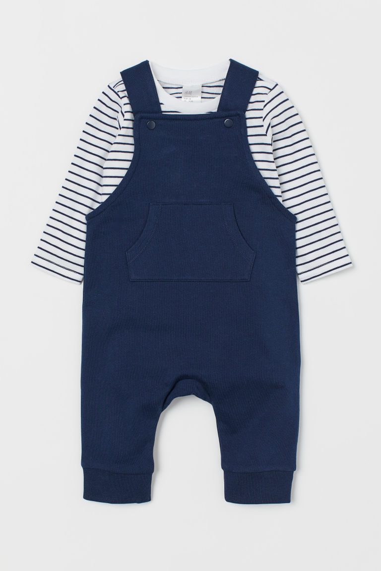 Dungarees and top - Navy blue/Striped - Kids | H&M
