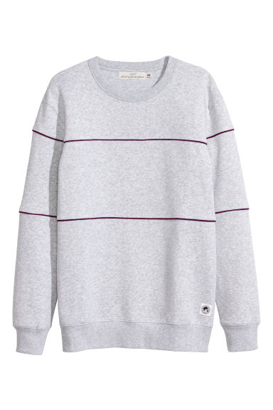 Sweatshirt with piping - Grey marl -  | H&M