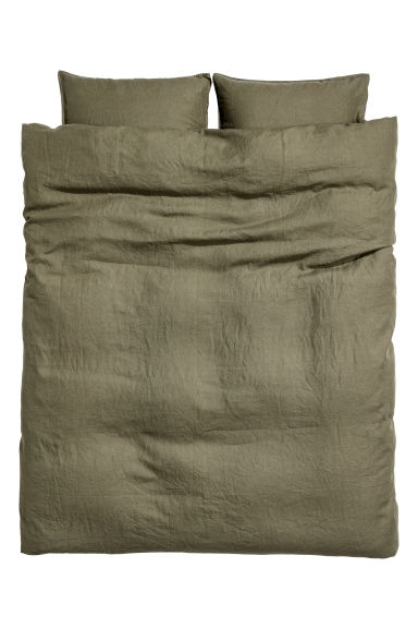 Washed linen duvet cover set - Dark khaki green - Home All | H&M IE