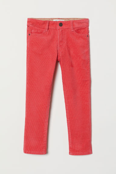 Corduroy trousers - Coral red - Kids | H&M CN